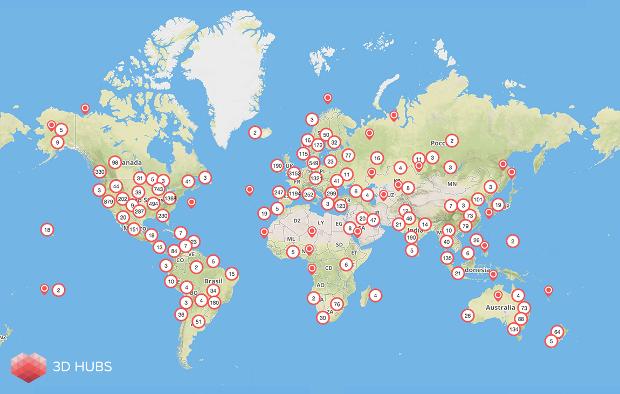 Les membres de la communauté 3D Hubs à travers le monde