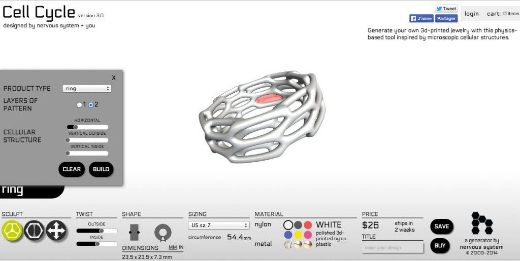 L'application 'Design your own' disponible sur le site de Nervous System