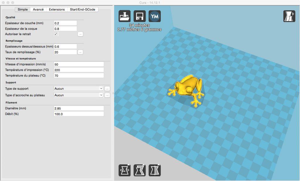 Pour les débutants, nous conseillons de recourir à Cura ou Simplify3D