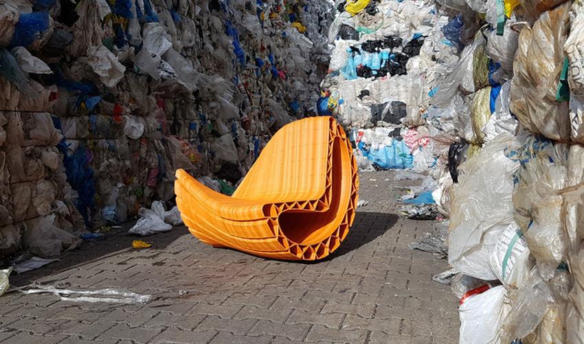 3D-gedruckte Straßenmöbel aus Plastikmüll