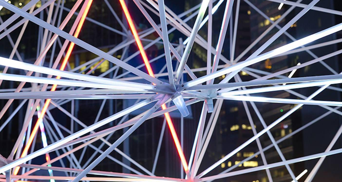 3D printed art installation installed at the iLight Marina Bay