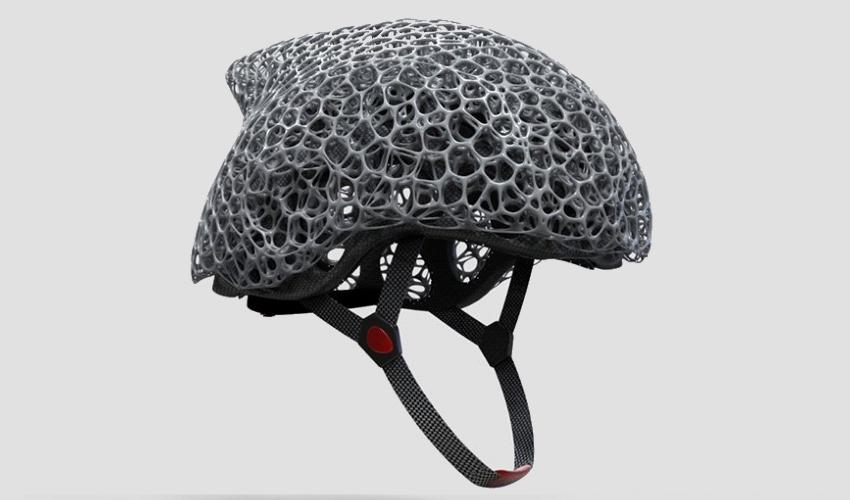 Voronoi 3D printed helmet