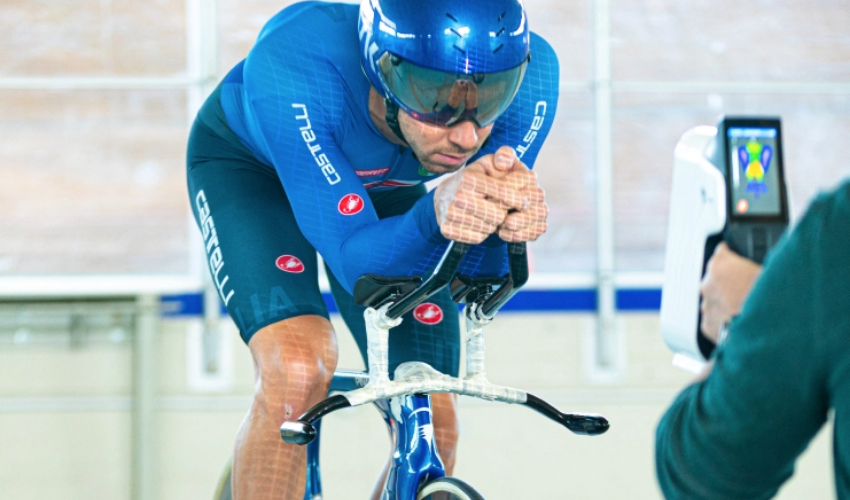 Italian Cyclist being 3D scanned