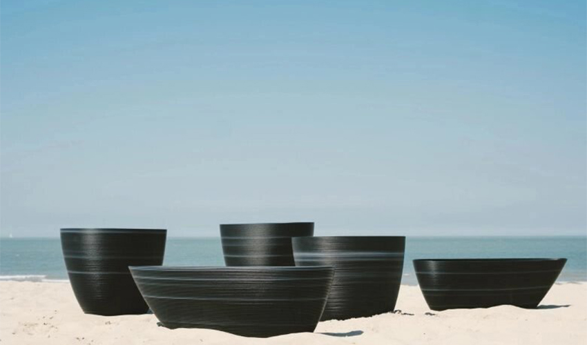3D printed plant pots made from recycle plastic