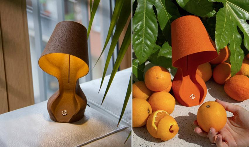 3D printed lamp made from orange peels