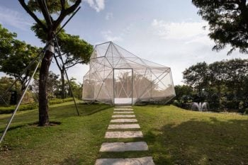 The AIRLAB pavilion made from 3D printed steel nodes explores design freedom