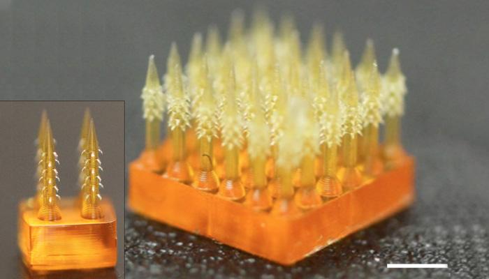 4D printed micro needles