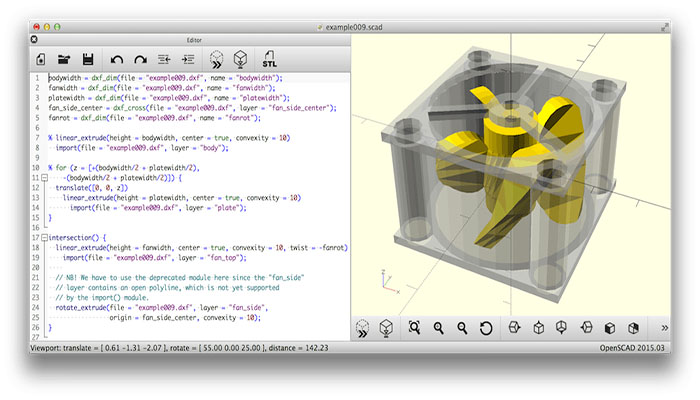 OpenSCAD how to create solid 3d objects Meccanismo t