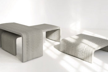 XtreeE prints concrete 3D printed benches with complex patterns