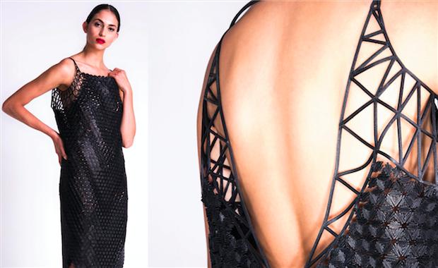 Vestido negro, creado con  un patrón no plano, para dar textura al vestido
