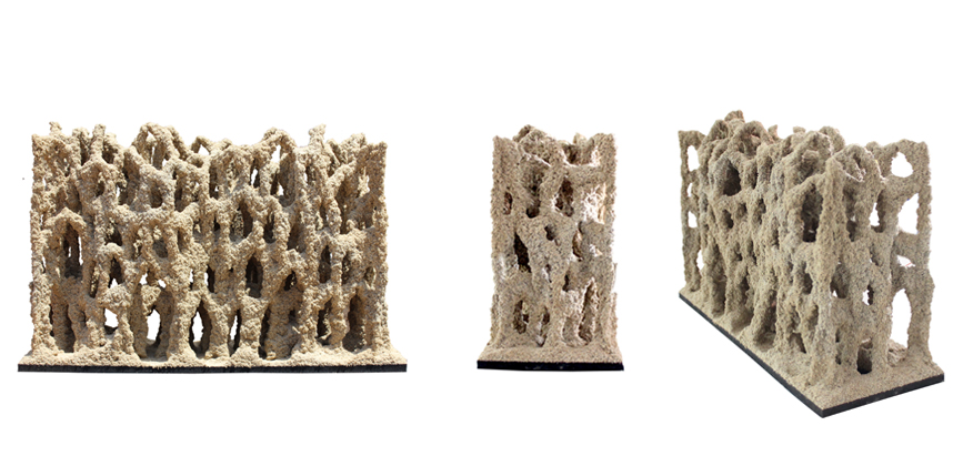 Sand Wall: 500 mm x 150 mm x 400 mm Este experimento muestra que la impresión 3D en arena puede ser utilizada a escala arquitectónica