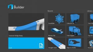 La page d'accueil de l'application 3D Builder