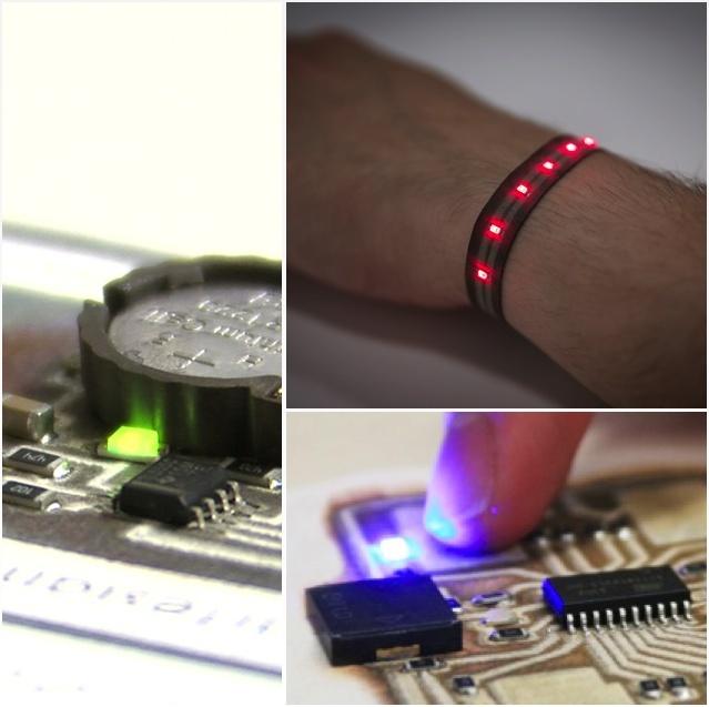 On voit ici un bracelet avec led integré