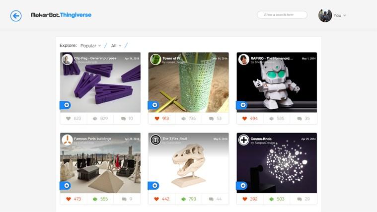 De son côté, Thingiverse propose un catalogue de plus de 700 000 modèles 3D imprimables