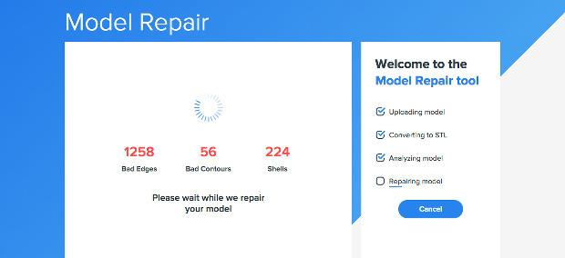 3DPrintCloud permet de facilement réparer un fichier avec de l'envoyer pour impression