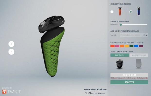L'outil de personnalisation sur le site 3D Shaver