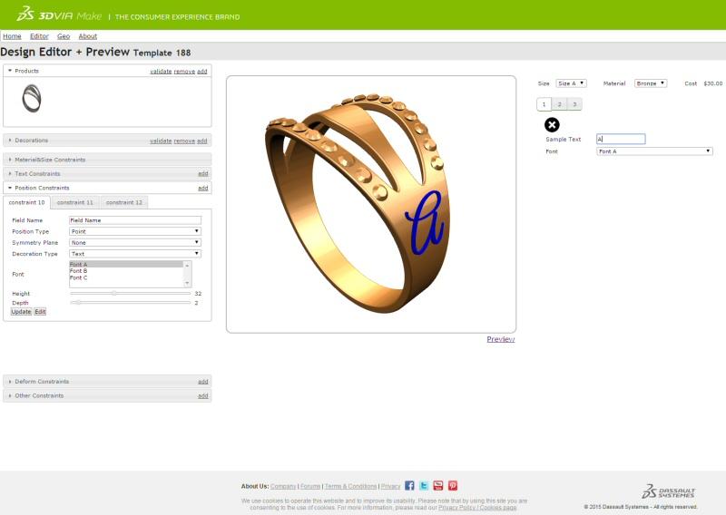 3DVIA Make permet de personnaliser des produits en ligne avant de les faire imprimer en 3D