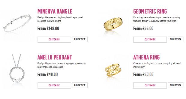 Le catalogue propose pour le moment une dizaine de modèles de bijoux