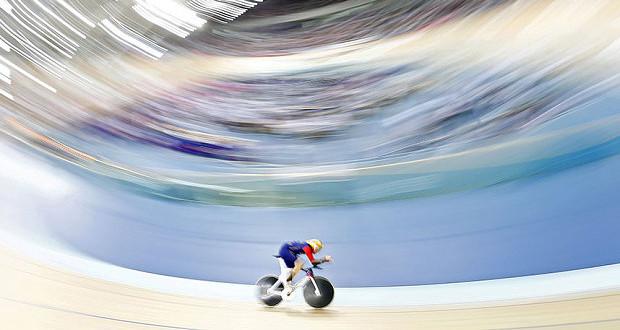 Le coureur cycliste Bradley Wiggins en pleine action dimanche dernier