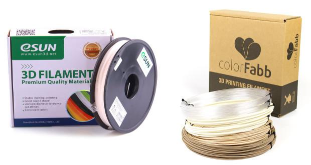 eSun pour de grosses bobines au prix intéressant, et Colorfab pour une fabrication et un conditionnement parfait