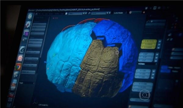 La carapace de Fred répliquée en 3D sur ordinateur