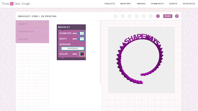 Le projet permettra de coder une interface graphique pour personnaliser un bracelet à imprimer en 3D