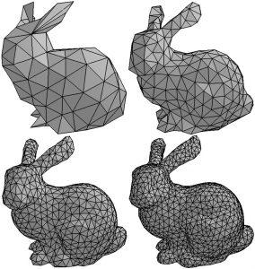 La qualité d'un modèle 3D dépend notamment du nombre de triangles, ou facettes.