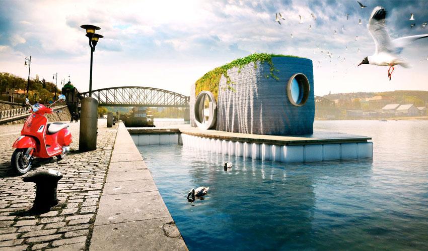 maison flottante imprimée en 3D