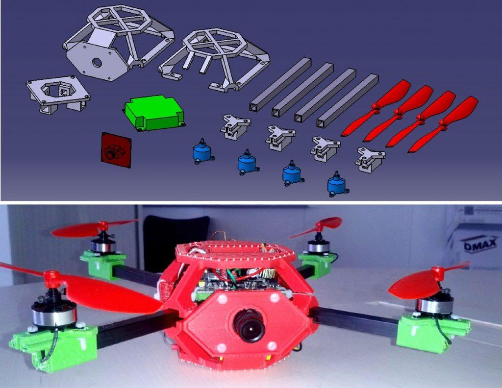 Quadcopter dessiné avec CATIA et fabriqué au fablab de Dassault Systèmes