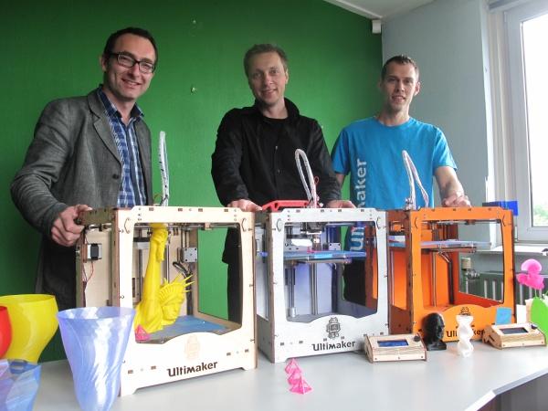 Les fondateurs d'Ultimaker : Siert Wijnia, Martijn Elserman et Erik de Bruijn